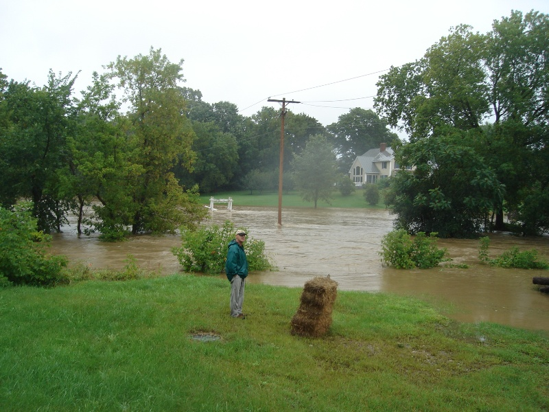 about 4:30 Sunday, looking behind the Brandon Inn from the other side of the river