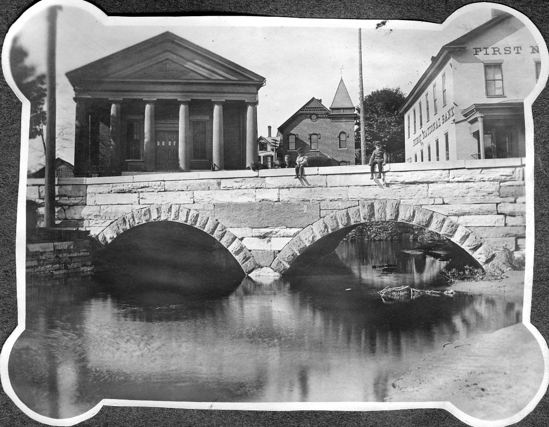 Brandon Town Hall and Bridge, c. 1870s Vermont VT